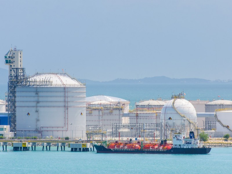 gas-carrier at petrochemical tank farm and jetty